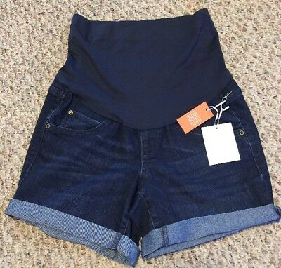 NWT Womens Maternity a:glow Belly Panel Cuffed Jean Shorts Size 4