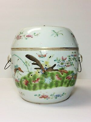 RARE Antique Chinese Porcelain Jar W/ Cover FAMILLE ROSE W/ Bats & MARK