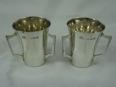 PAIR, solid silver DRINKING TOTS, 1926, 52gm