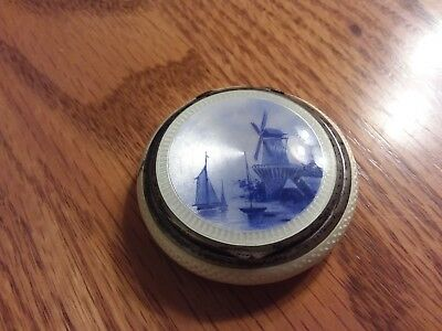 935 STERLING SILVER ENAMEL GERMAN PILL BOX or COMPACT