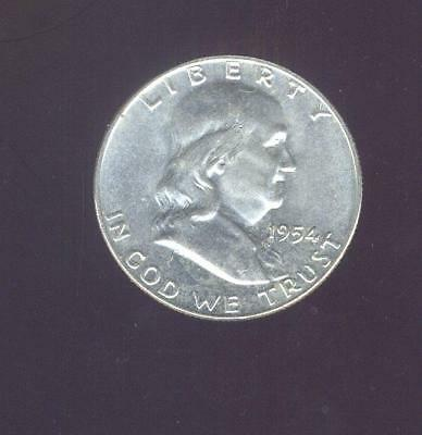 Nice Uncirculated 1954-D 90% Silver Franklin Half Dollar,  Free USA Shipping