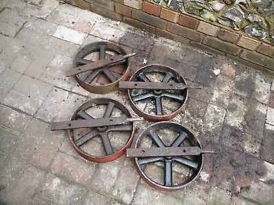 Shepherds Hut Cast Iron Wheels With Axles Old Rare