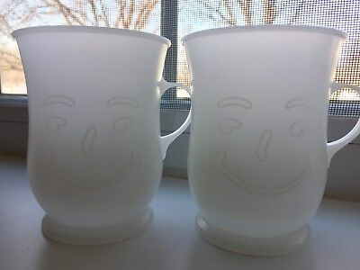 Two Vintage Kool Aid Plastic Cup Mug Kool-Aid Glasses Clear White Frosted