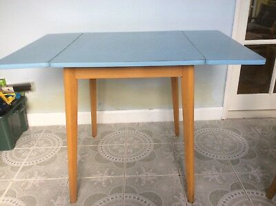 Formica Kitchen Table, Blue Patterned, 1950's/'60's, 2 Drop Sides, Retro