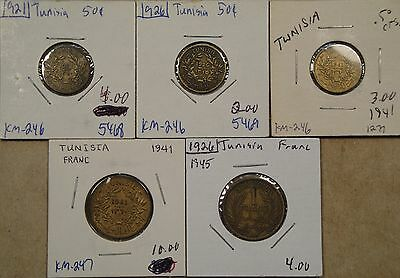 Tunisia 5 Coins 1921-41 as Pictured