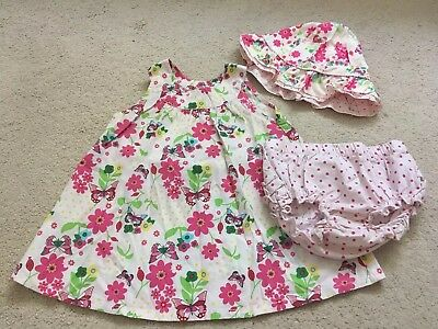 H&M 💛 3pc Hat Dress And Knickers Set Summer Butterfly Print 💛 6-9 Months