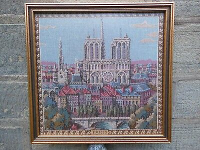"""""""Paris"""", framed and glazed French woven tapestry showing Notre Dame and city"""