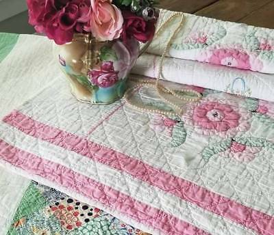 "So Pretty Vintage 30s Applique Pink Flower & Victorian Basket Quilt 85"" x 78"""