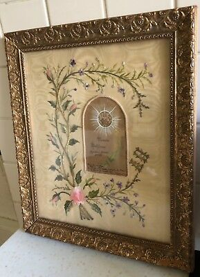 Antique Early 20Thc Framed French Embroidery Baptism Memento On Silk