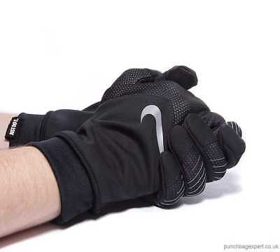 New Mens L Large Nike Running Storm Fit Hybrid Gloves Thermal Black Silver Track