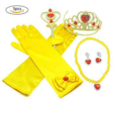 5 Set  Alead Princess Belle Yellow Dress up Party Accessories Gloves cosplay