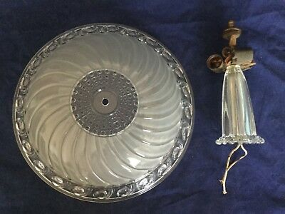 Vintage Art Deco 30's Chandelier Ceiling Lamp 3 - Light Frosted / Clear Shade