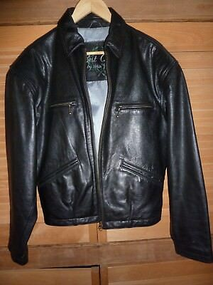 Vintage Style  Hein Gericke Black Casual Leather Motorbike Jacket Size M