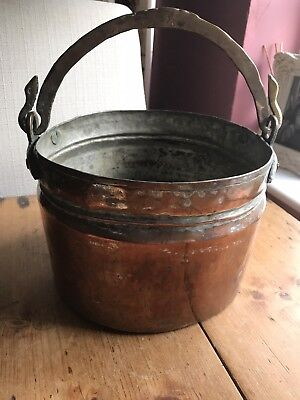 Antique Vintage Copper Cooking Pot bucket Cauldron with brass hammered handle