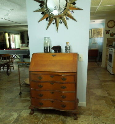 Old Maple Secretary Desk, Ball Claw Feet, Serpentine Front, Dovetail Drawers