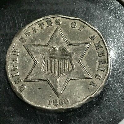 1860 Three Cent Silver Better Date Higher Grade Details