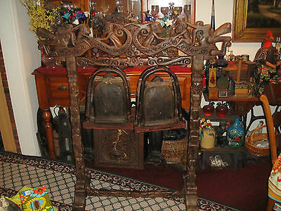LARGE African Carved Wood Stand Gong Holder-Detailed Carvings-NO GONGS