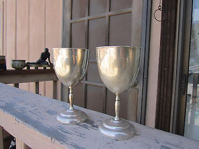 Vintage Sterling Silver Mexico Taxco MV Signed 2 Wine Goblets 300 Grams Heavy