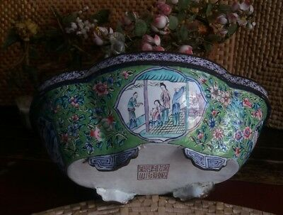 Chinese Lobed Oval Canton Enamelled Footed 18Th Marked Qianlong  Bowl Pot