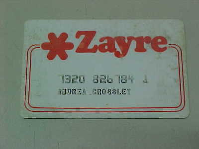 Vintage Old Expired Credit Card - Zayre Now Defunct Discount Department Store