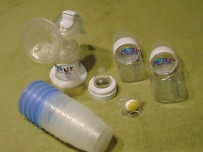 Avent Naturally Isis Manual Breastpump, Bottles, Storage Cups, More -Free Ship