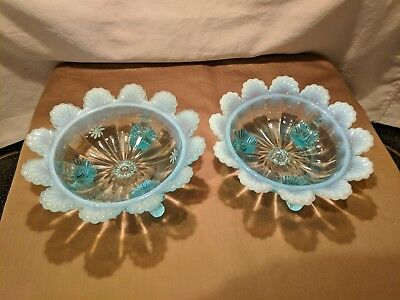 Vintage Pair of 1800's blue Opalescent Northwood Klondyke Berry Bowls