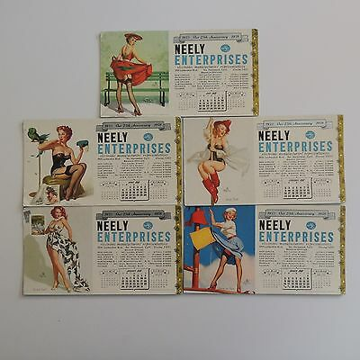 5-1958 ADVERTISING BLOTTERS Pin Up cards Neely Enterp. Electronics   25TH Anniv