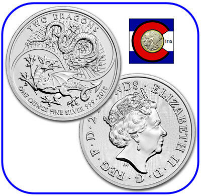 2018 Great Britain Two Dragons Silver Coin 1 oz 0.999 £2 in Mint Capsule