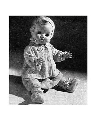 """Vintage Knitting Pattern Copy -To Knit Dolls Clothes For  20"""" Doll 1960 - 4 Ply"""
