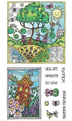 Hampton Art Color Me Whimsical Tree Garden House Set Cling Rubber Stamp