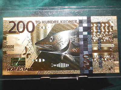 Gold Norway 200 Kroner Banknote Collector Item 2016