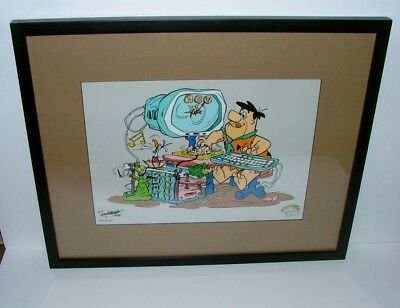 """Matted And Framed Limited Edition Sericel The Flintstones In """"microstone"""""""
