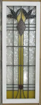 "LARGE OLD ENGLISH LEADED STAINED GLASS WINDOW Heart Diamond & Floral 16"" x 43"""