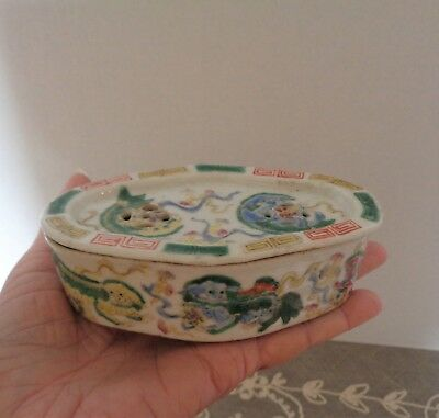 Antique Chinese Famille Rose Porcelain Cricket Box Foo Dogs Lions Signed OLD!