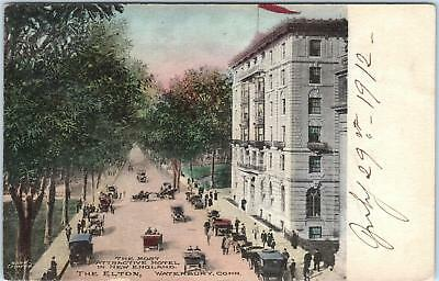 [SOLD] WATERBURY, CT Connecticut THE ELTON HOTEL 1912 Handcolored Post