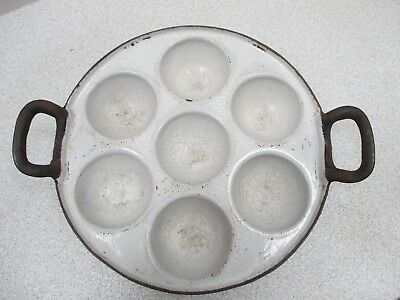 Vintage Cast Iron Egg/Muffin Pan, White Inside