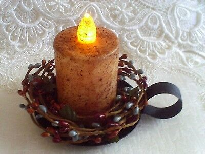 Timer Pillar Candle Burnt Ivory  Blue Brown Burgundy Pip Ring  Black Iron Pan