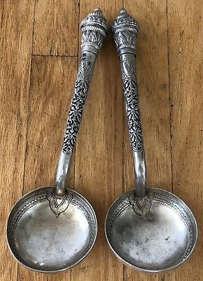 2 HUGE Thai T90 Silver Bowl Old Burmese Traditional Embossed Design Ladle Spoon