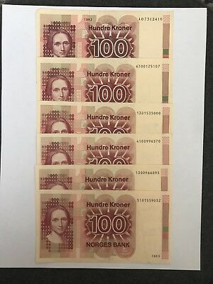 "NORWAY 6 x 100 HUNDRE KRONER BANKNOTES NORGES BANK ""Camilla Collett"""