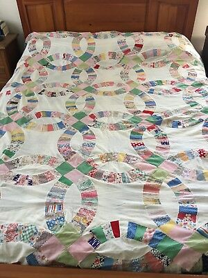 "Vintage  Handmade Feed Sack Double Wedding Ring  Quilt Top 86"" X 88"""