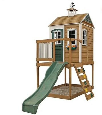 Wooden Deluxe Cubby House Ladder Rock Wall Sand Box Slide Clubhouse Playset