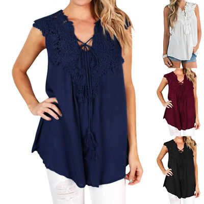 Fashion Women's Summer Vest Top Sleeveless Blouse Casual Tank Tops T-Shirt Lace