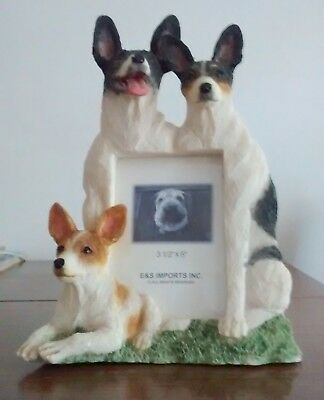 """Rat Terrier Dog Picture Frame E &S Imports Resin photo size 3.5x5"""""""