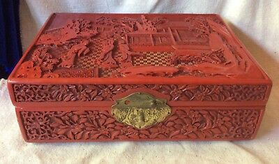 VINTAGE CHINESE FAUX RED CINNABAR JEWELRY BOX w/ MIRROR, HINGES signed BEAUTIFUL