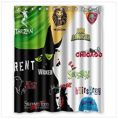 Cool Broadway Collage Musical One Side Shower Curtain With Hooks 60