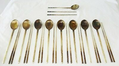 27Pc Vintage Korean 999 Pure Silver Spoon & Chop Sticks Sets (Pir)