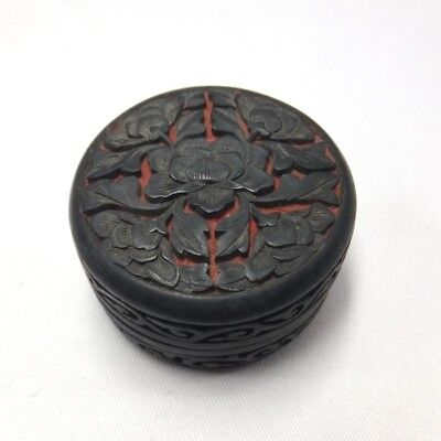 A198: Chinese TSUIKOKU lacquer ware style incense case with flower pattern