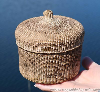 VERY FINE RARE EARLY NORTHWEST COAST HAIDA INDIAN LIDDED BASKET c1900