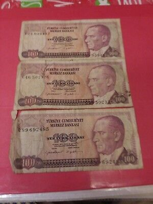 Turkey 1970 100 lire used Paper currency.