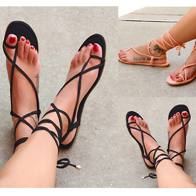 6841b55331e Womens Flat Heel Summer Strappy Slingback Sandals Open Toe Shoes Lace Up  Bandage